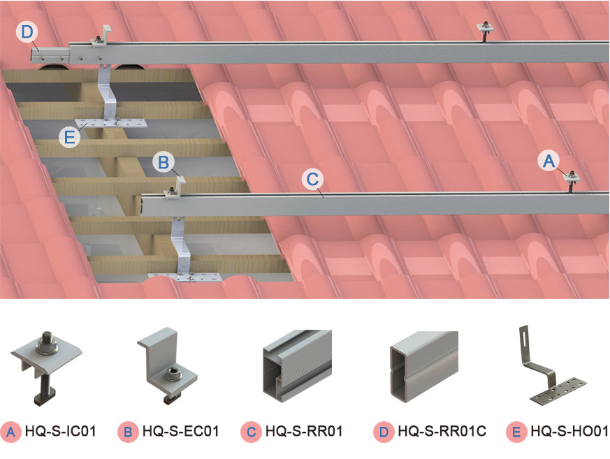 Solar tile roof for solar mounting structure